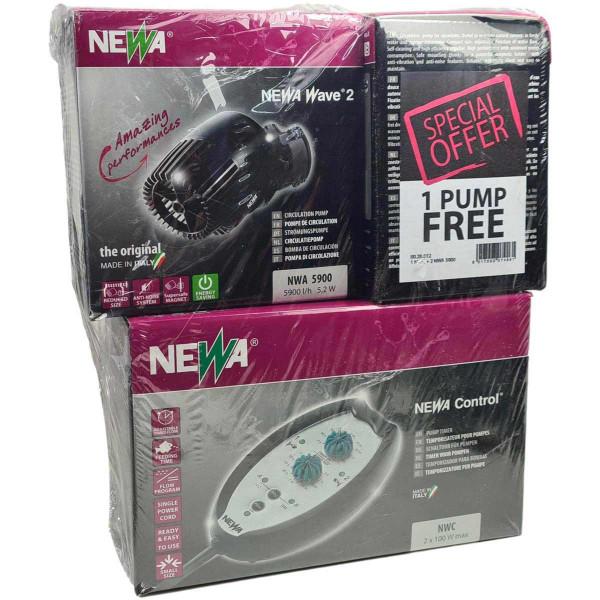 2 Stück Newa Wave 2 5900 Strömungspumpen + Controller im Set | 5.900 L/h 5,2 Watt